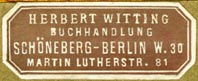 Herbert Witting, Buchhandlung, Berlin, Germany (33mm x 14mm, ca.1910s). Courtesy of Robert Behra.