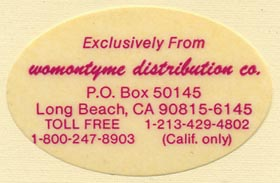 Womontyme Distribution Co., Long Beach, California (44mm x 29mm). Courtesy of Donald Francis.