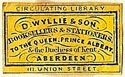D. Wyllie & Son, Booksellers & Stationers, Aberdeen, Scotland (20mm x 12mm, ca.1860s?). Courtesy of S. Loreck.