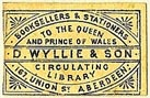 D. Wyllie & Son, Booksellers & Stationers, Aberdeen, Scotland (22mm x 14mm, ca.1870s?). Courtesy of S. Loreck.