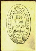 Ye Olde Boke Shoppe (H.M. Gilbert / Henry March Gilbert & Son / Gilbert & Co.), est.1860, Southampton, England (19mm x 27mm). Courtesy of Robert Behra.