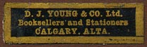 D.J. Young & Co., Booksellers and Stationers, Calgary, Alberta, Canada (33mm x 10mm). Courtesy of Donald Francis