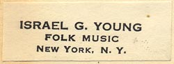 Israel G. Young, Folk Music, New York, NY (40mm x 15mm, ca.1957)