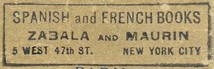 Zabala and Maurin, Spanish and French Books, New York, NY (51mm x 16mm, ca.1939)