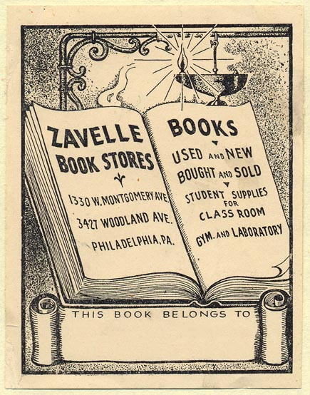 Zavelle Book Stores, Philadelphia, Pennsylvania (Bookplate, 70mm x 91mm). Courtesy of Donald Francis.