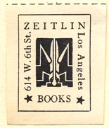 Zeitlin Books, Los Angeles, California (24mm x 29mm). Courtesy of Donald Francis.
