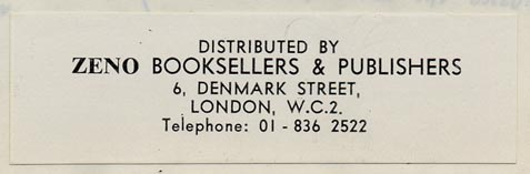 Zeno Booksellers & Publishers, London, England (76mm x 23mm, ca.1960s).