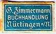 G. Zimmermann, Buchhandlung, Nurtingen, Germany (17mm x 10mm, ca.1925). Courtesy of Michael Kunze.