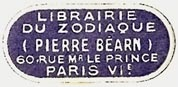 Librairie du Zodiaque, Pierre Bearn, Paris, France (29mm x 13mm). Courtesy of S. Loreck.