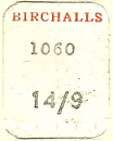 Birchalls, Devonport & Launceston, Tasmania, Australia (16mm x 21mm). Courtesy of Dennis Muscovich.