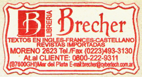 Librería Brecher, Mar del Plata, Argentina (45mm x 23mm, c.1997). Courtesy of Mario Martin.