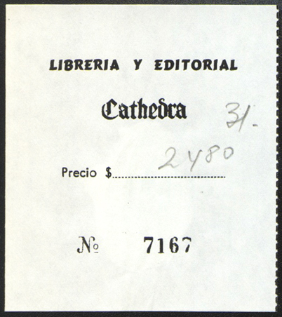 Librería y Editorial Cathedra, Buenos Aires, Argentina (62mm x 73mm, c.1980). Courtesy of Mario Martin.