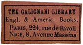 The Galignani Library, Paris & Nice, France (28mm x 15mm, ca. 1905). Courtesy of Steve Trussel.