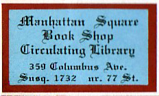 Manhattan Square Book Shop, New York, New York.  Courtesy of Michael Floreani.