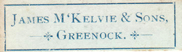 James McKelvie & Sons, Greenock, Scotland (30mm x 8mm, c.1898). Courtesy of David Neale.