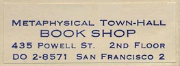 Metaphysical Town-Hall Book Shop, San Francisco, California (42mm x 16mm, ca.1960s).