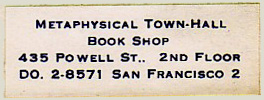 Metaphysical Town-Hall Book Shop, San Francisco, California.  Courtesy of Michael Floreani.