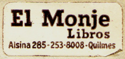 El Monje Libros, Quilmes, Argentina (40mm x 18mm, c. 1986). Courtesy of Mario Martin.