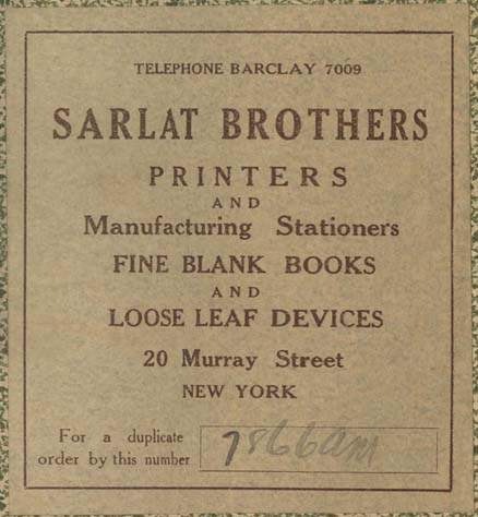 Sarlat Brothers, New York, NY (74mm x 81mm, c.1917). Courtesy of Robert Behra.