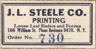 J.L. Steele Co., New York, NY (51 x 26 mm, c.1923). Courtesy of Robert Behra.