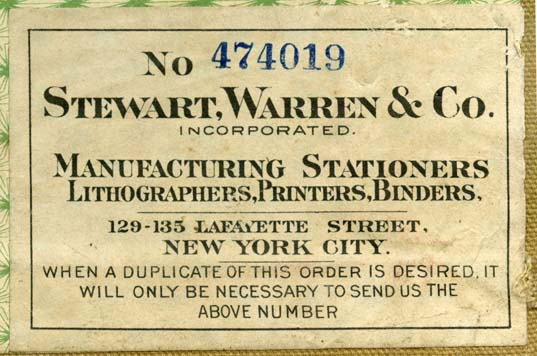 Stewart, Warren & Co., New York, NY (87mm x 58mm, c.1927). Courtesy of Robert Behra.
