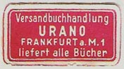 Urano [mail-order bookseller], Frankfurt, Germany (29mm x 16mm, ca.1952). Courtesy of Michael Kunze.