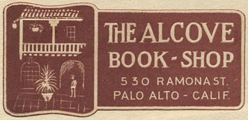 The Alcove Book-Shop, Palo Alto, California (58mm x 28mm, ca.1930s).