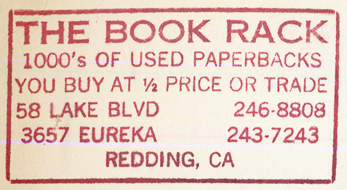 The Book Rack, Redding, California (inkstamp, 56mm x 30mm).