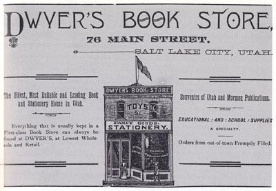 Advertisement for Dwyer's Book Store, Salt Lake City