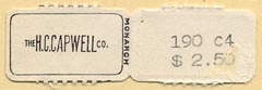 The H.C. Capwell Co., Oakland, California (38mm x 12mm, including tear-off, ca.1934).