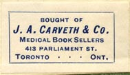 J.A. Carveth, Medical Book Seller, Toronto, Canada (32mm x 18mm). Courtesy of Robert Behra.