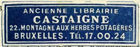 Ancienne Librairie Castaigne, Brussels, Belgium (46mm x 15mm, after 1927)