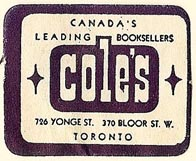 Cole's, Booksellers, Toronto, Canada (32mm x 25mm)