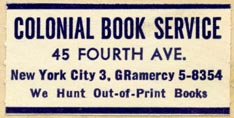 Colonial Book Service, New York (38mm x 19mm)
