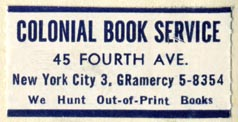 Colonial Book Service, New York, NY (38mm x 19mm)