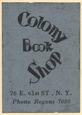 Colony Book Shop, New York (26mm x 36, ca.1929)