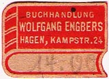 Wolfgang Engbers, Buchhandlung, Hagen, Germany (25mm x 18mm, after 1946). Courtesy of Michael Kunze.