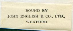 John English & Co., Wexford, England (42mm x 17mm, ca.1938). Courtesy of Robert Behra.