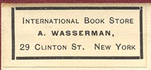 International Book Store, A. Wasserman, New York, NY (34mm x 15mm).