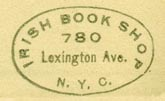 Irish Book Shop, New York, NY (inkstamp, 24mm x 15mm, ca.1941).