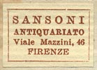 Sansoni Antiquariato, Florence, Italy (22mm x 15mm, before 1950).