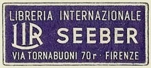 Seeber, Libreria Internazionale, Florence, Italy (36mm x 16mm). Courtesy of S. Loreck.