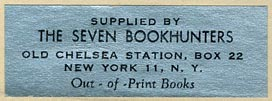 The Seven Bookhunters, New York, New York (44mm x 15mm, ca.1952).