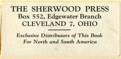 The Sherwood Press, Cleveland, Ohio (67mm x 31mm, ca.1939). Courtesy of Robert Behra.