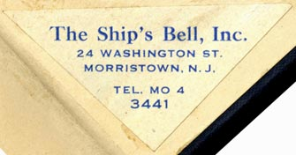 The Ship's Bell, Morristown, New Jersey (56mm x 28mm). Courtesy of Robert Behra.