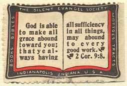 The Silent Evangel Society, Indianapolis, Indiana (40mm x 28mm). Courtesy of Donald Francis.