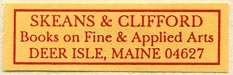 Skeans & Clifford, Books on Fine & Applied Arts, Deer Isle, Maine (37mm x 12mm). Courtesy of Sarah Faragher.