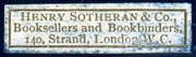 Henry Sotheran & Co., London, England (29mm x 8mm, ca.1898). Courtesy of Robert Behra.