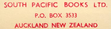 South Pacific Books, Auckland, New Zealand (58mm x 14mm, ca.1959). Courtesy of Robert Behra.