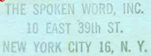 The Spoken Word, New York, NY (inkstamp, 48mm x 16mm). Courtesy of Robert Behra.